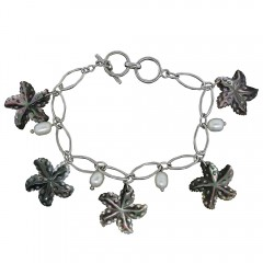Grey Mother of Pearl Starfish Charm Bracelet