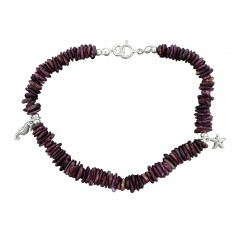 Purple Oyster Stone Charm Anklet