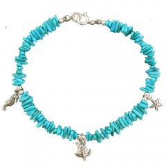 Turquoise Charm Anklet: Turtle, Starfish, Seahorse