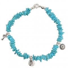 Turquoise Charm Anklet: Sun, Palm Tree, Sand Dollar