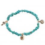 Turquoise Charm Bracelet: Sun, Palm Tree, Sand Dollar