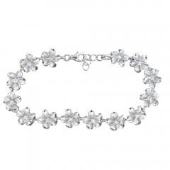 Shiny Silver Plumeria Bracelet