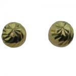 Children's Gold Ball Diamond-Cut Earrings