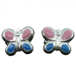 Children's Pink and Blue Butterfly Earrings