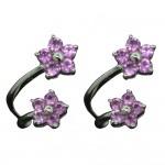 White Gold Pink Sapphire Flower Earrings