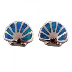 Opal Seashell Post Earrings