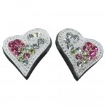 Pink and Yellow Crystal Heart Earrings
