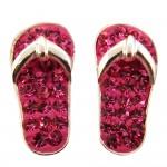 Pink Crystal Flip Flop Earrings