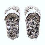 White Crystal Flip Flop Earrings