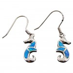 Prancing Seahorse Opal Dangle Earrings
