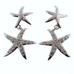 Double Starfish Sparkle Dangle Earrings
