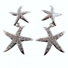 Double Starfish Sparkle Dangle Earrings