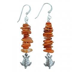 Orange Oyster Stone Sea Turtle Earrings