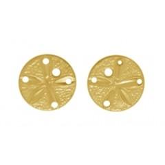 14K Gold Sand Dollar Post Earrings