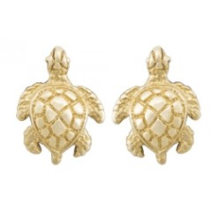 14K Gold Turtle Post Earrings - USA