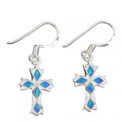 Opal Cross Dangle Earrings