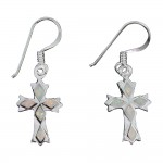 White Opal Cross Earring