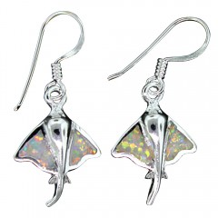 White Opal Stingray Dangle Earrings
