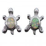 White Opal Turtle Post Earrings