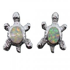White Opal Turtle Post Earrings