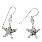 White Opal Starfish Dangle Earrings