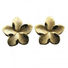 Gold Plumeria Post Earrings