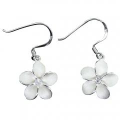 Plumeria Dangle Earring  CZ