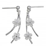 Chandelier Plumeria Bead Wire Earring with Clear CZ