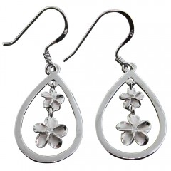 Plumeria Teardrop Dangle Earrings