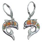 Fire Opal Dolphin Leverback Earring