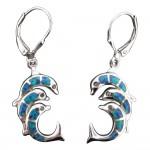 Triple Dolphin Dangle Earrings