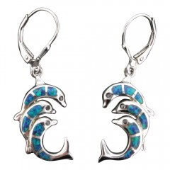 Triple Dolphin Dangle Earrings