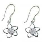 Double Plumeria Cutout Dangle Earrings
