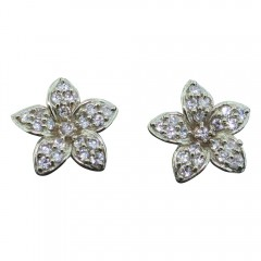 White Gold CZ Inlay Plumeria Earrings