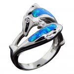 Double Dolphin Opal Ring