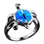 Swimming Opal Turtle Ring