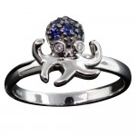 White Gold Sapphire Octopus Ring