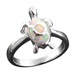 White Opal Shell Turtle Ring