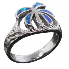 Opal Palm Tree Ring