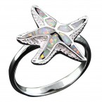 White Opal Starfish Ring