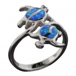 Opal Double Honu Turtle Ring