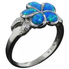 Plumeria Opal Flower with Leaves Ring