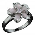 Sandblasted Plumeria Flower Ring - Small