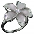 Sandblasted Plumeria Flower Ring - Large