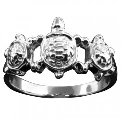 Thin Band Triple Turtle Ring