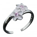 Double Plumeria and Pink CZ Toe Ring