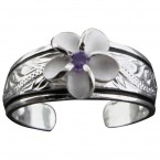 Plumeria with Etched Silver Toe Ring