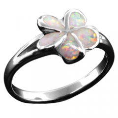 Early Bloom White Opal Plumeria Ring
