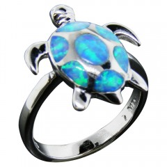 Blue Opal Inlay Sea Turtle Ring