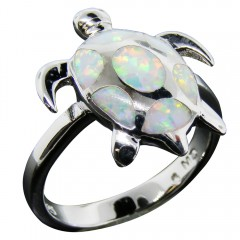 White Opal Inlay Sea Turtle Ring